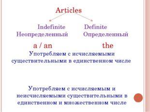 Articles Indefinite Definite Неопределенный Определенный a / an the Употребля