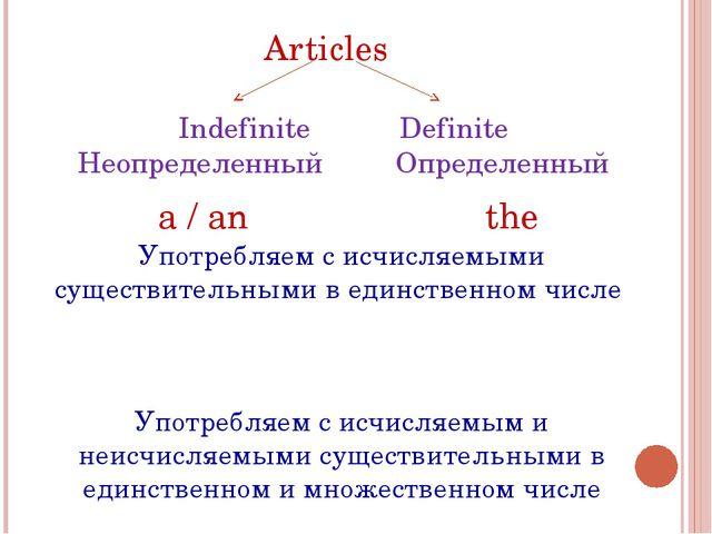 Articles Indefinite Definite Неопределенный Определенный a / an the Употребля...