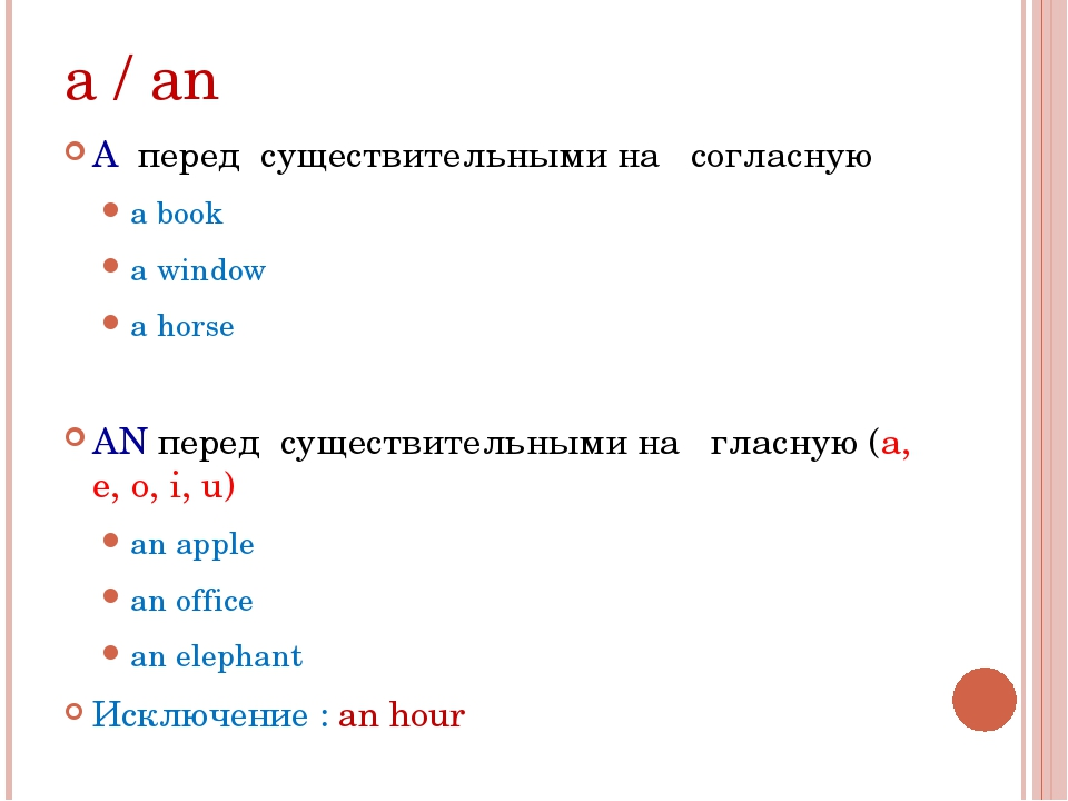 a / an A перед существительными на согласную a book a window a horse AN перед...