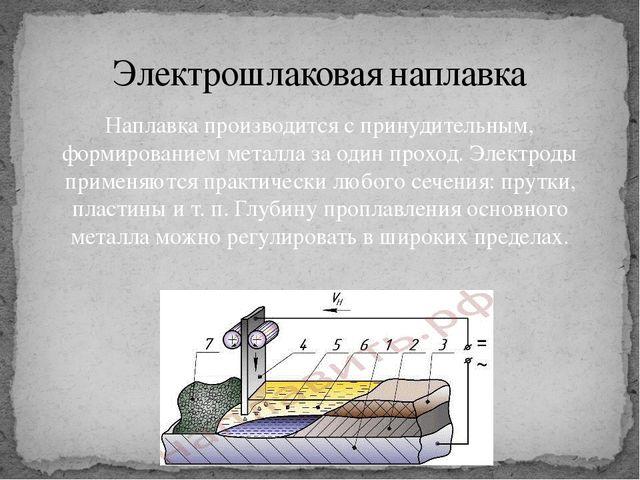 Наплавка производится с принудительным, формированием металла за один проход....