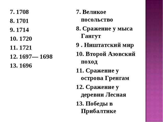 7. 1708 8. 1701 9. 1714 10. 1720 11. 1721 12. 1697— 1698 13. 1696 7. Великое...