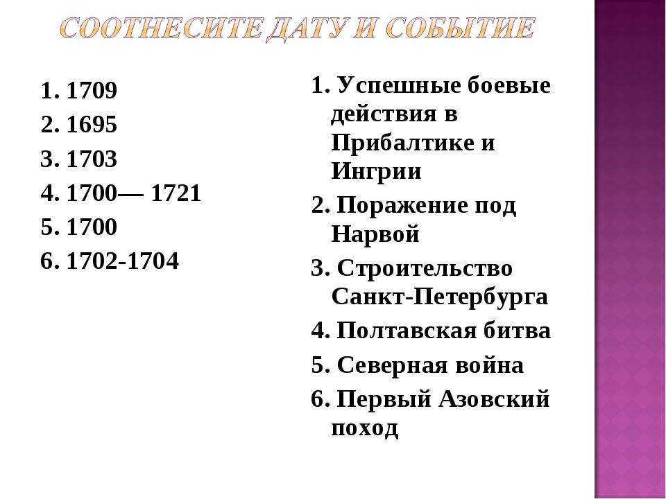1. 1709 2. 1695 3. 1703 4. 1700— 1721 5. 1700 6. 1702-1704 1. Успешные боевые...
