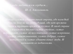 Детей надо любить всем сердцем… Ш. А. Амонашвили. Школа – самая удивите