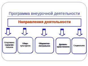 Программа внеурочной деятельности Направления деятельности Социальное Духовно