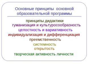 Основные принципы основной образовательной программы принципы дидактики гуман