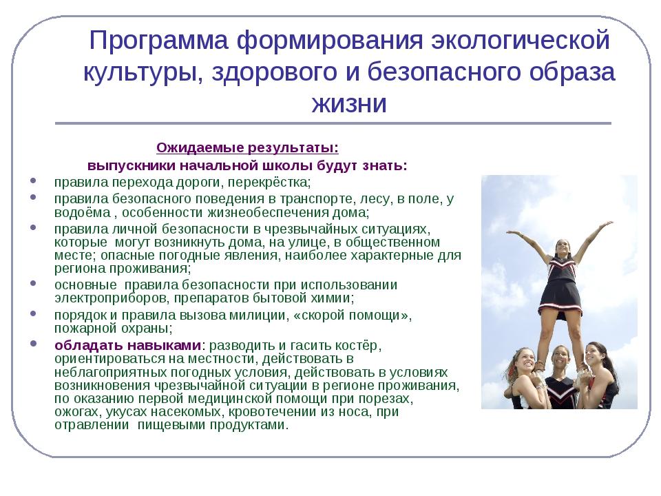 Программа формирования экологической культуры, здорового и безопасного образа...