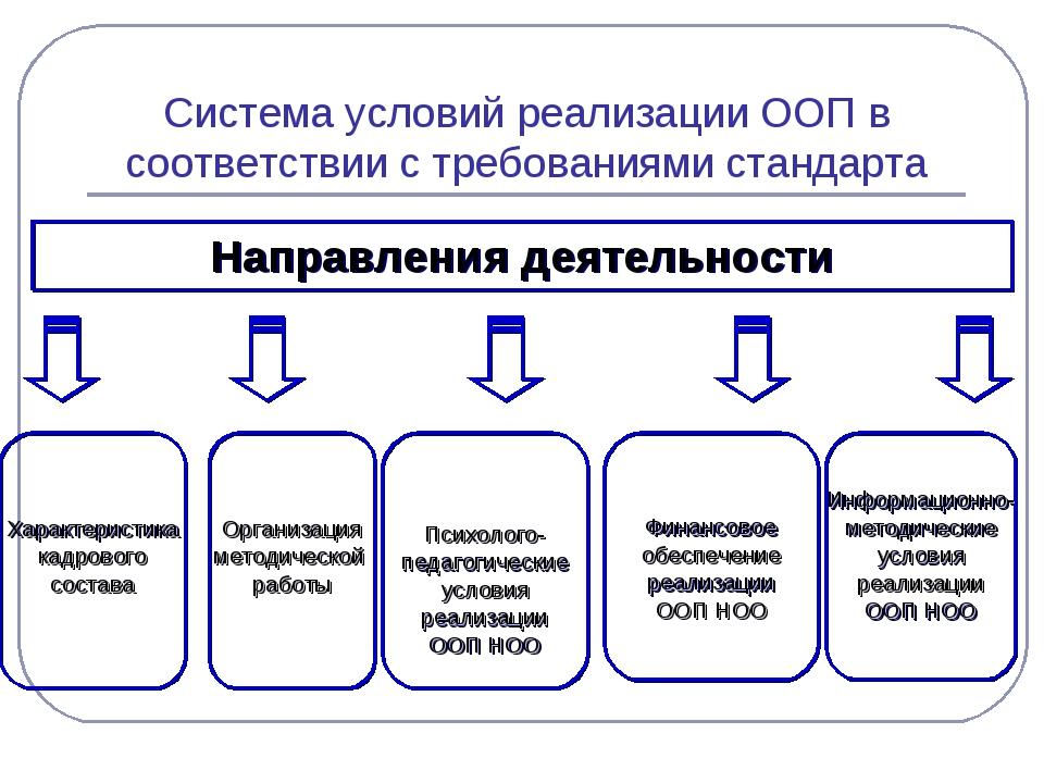 Система условий реализации ООП в соответствии с требованиями стандарта Направ...