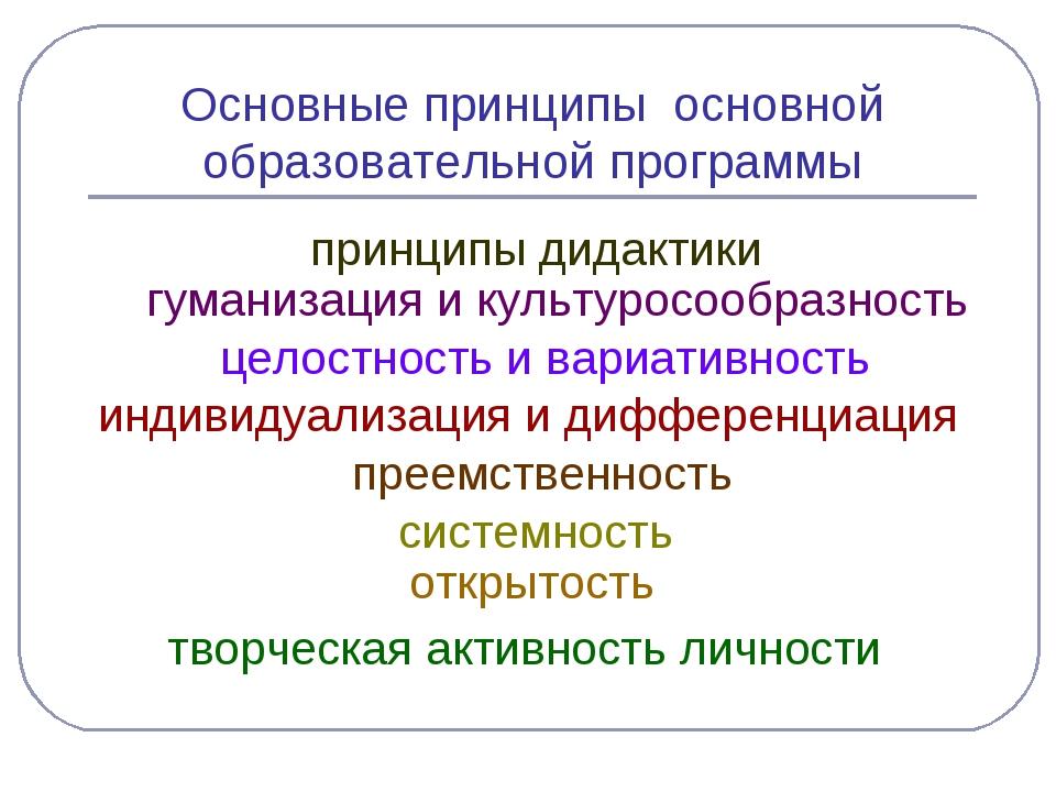 Основные принципы основной образовательной программы принципы дидактики гуман...