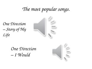 The most popular songs. One Direction – Story of My Life One Direction – I Wo