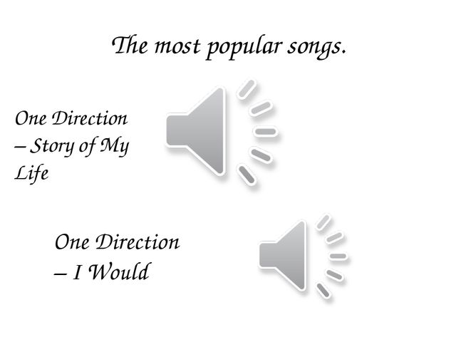 The most popular songs. One Direction – Story of My Life One Direction – I Wo...