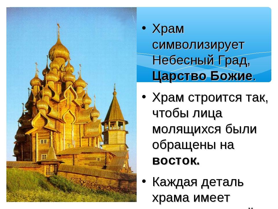 Храм символизирует Небесный Град, Царство Божие. Храм строится так, чтобы ли...