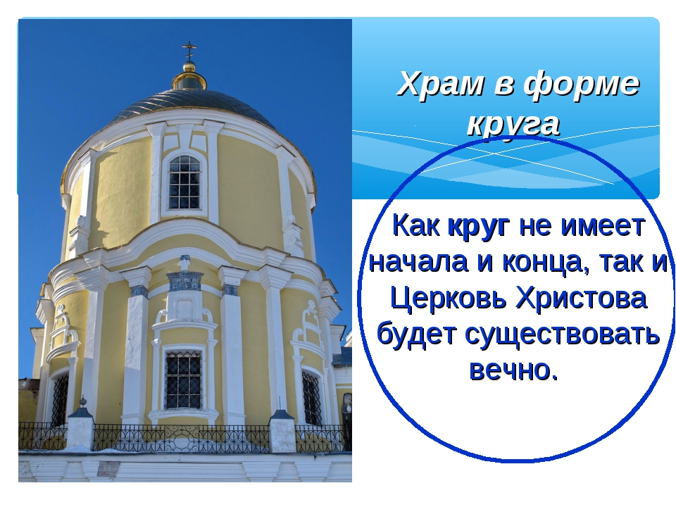 Храм в форме круга Как круг не имеет начала и конца, так и Церковь Христова б...