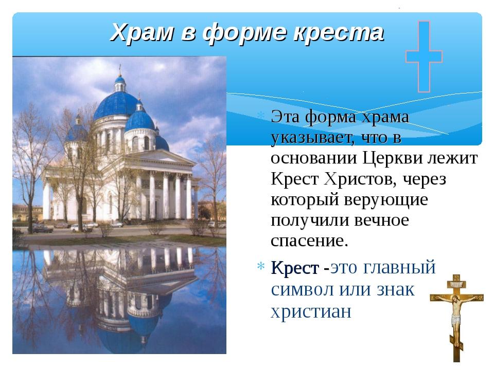 Храм в форме креста Эта форма храма указывает, что в основании Церкви лежит...