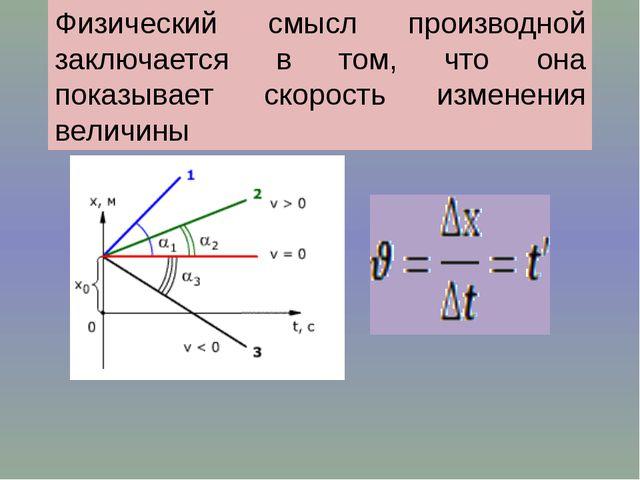 Физический смысл производной заключается в том, что она показывает скорость и...