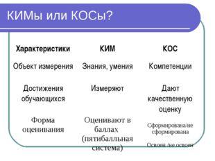 КИМы или КОСы? ХарактеристикиКИМКОС Объект измеренияЗнания, уменияКомпете