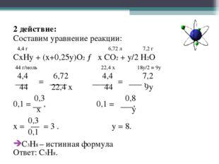 2 действие: Составим уравнение реакции: 4,4 г 6,72 л 7,2 г CxHy + (x+0,25y)O