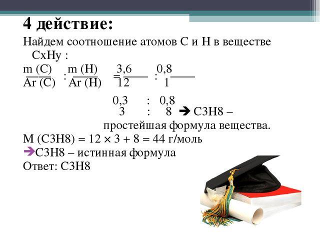 4 действие: Найдем соотношение атомов С и Н в веществе CxHy : m (C) m (H) 3,6...