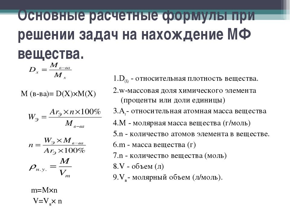 Основные расчетные формулы при решении задач на нахождение МФ вещества. М (в-...