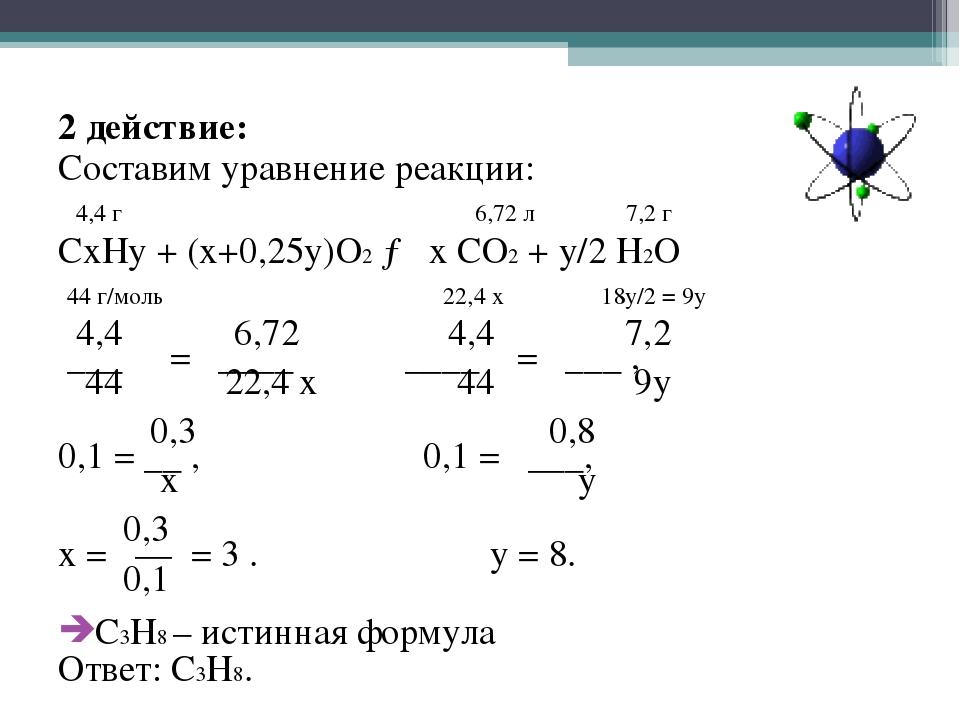 2 действие: Составим уравнение реакции: 4,4 г 6,72 л 7,2 г CxHy + (x+0,25y)O...