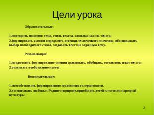 Цели урока Образовательные: повторить понятия: тема, стиль текста, основная