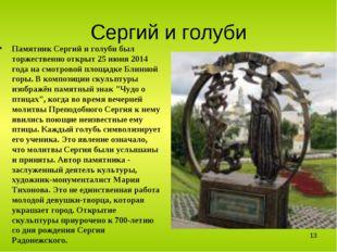 Сергий и голуби Памятник Сергий и голуби был торжественно открыт 25 июня 2014
