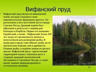 Вифанский пруд Вифанский пруд является живописной зоной, которая сохранила св