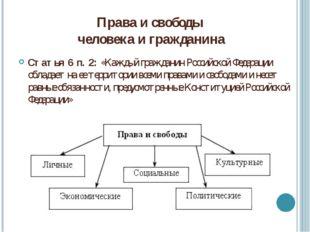 Права и свободы человека и гражданина Статья 6 п. 2: «Каждый гражданин Россий