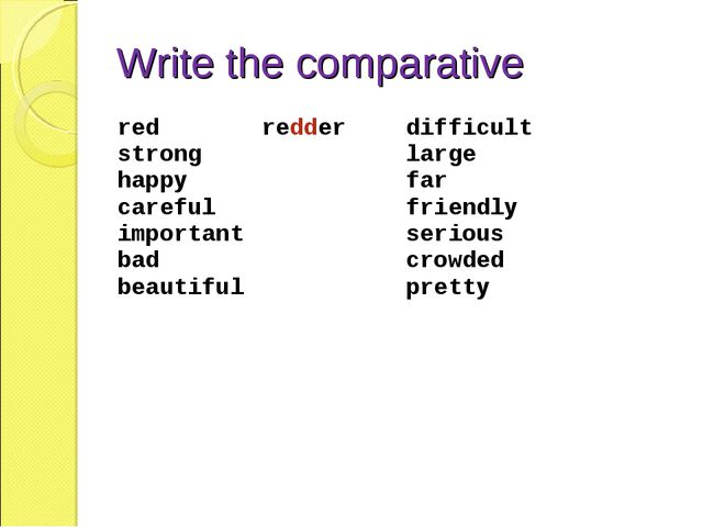 Write the comparative red strong happy careful important bad beautiful	redder...