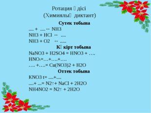 Ротация әдісі (Химиялық диктант) Сутек тобына .... + ....↔ NH3 NH3 + HCl ↔ ..