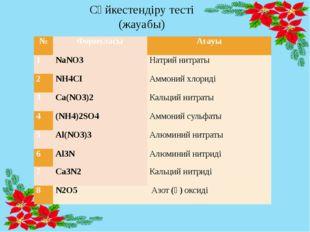 Сәйкестендіру тесті (жауабы) № Формуласы Атауы 1 NaNO3 Натрий нитраты 2 NH4CІ