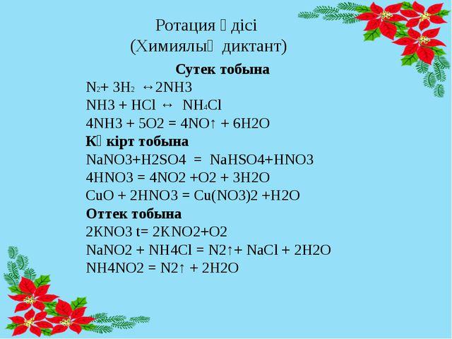 Ротация әдісі (Химиялық диктант) Сутек тобына N2+ 3H2 ↔2NH3 NH3 + HCl ↔ NH4Cl...