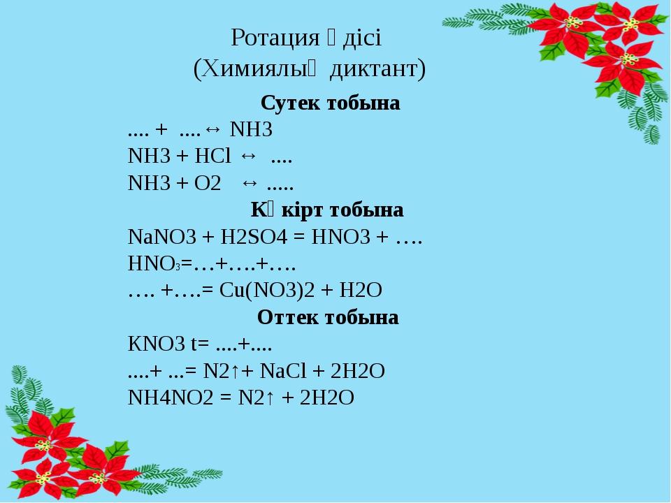 Ротация әдісі (Химиялық диктант) Сутек тобына .... + ....↔ NH3 NH3 + HCl ↔ .....