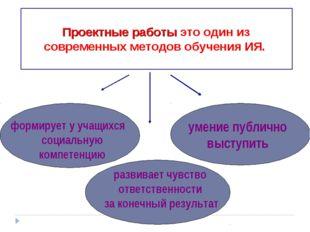 Проектные работы это один из современных методов обучения ИЯ. формирует у уч
