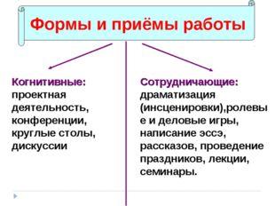 Формы и приёмы работы Когнитивные: проектная деятельность, конференции, кругл
