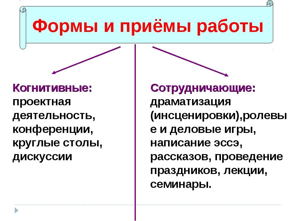 Формы и приёмы работы Когнитивные: проектная деятельность, конференции, кругл...