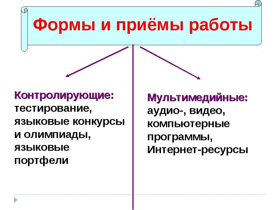Формы и приёмы работы Контролирующие: тестирование, языковые конкурсы и олимп...