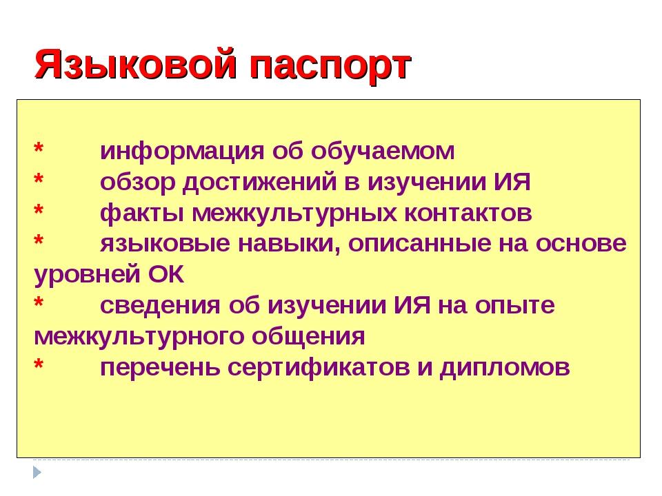 Языковой паспорт *информация об обучаемом *обзор достижений в изучении ИЯ *...
