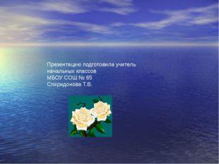 Презентацию подготовила учитель начальных классов МБОУ СОШ № 65 Спиридонова Т