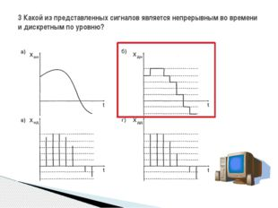 3 Какой из представленных сигналов является непрерывным во времени и дискретн