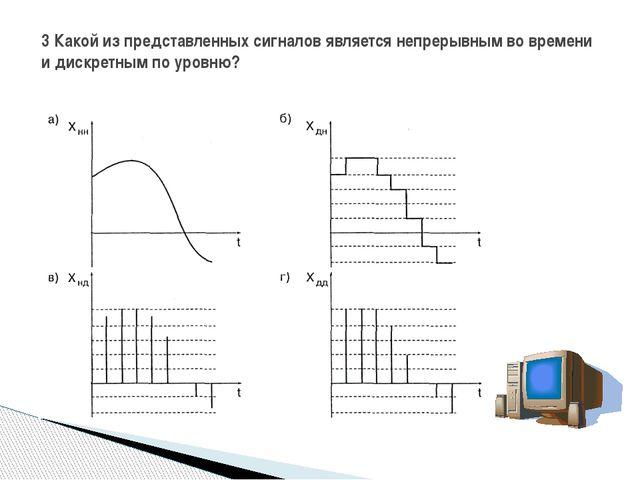 3 Какой из представленных сигналов является непрерывным во времени и дискретн...