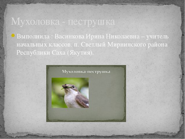 Выполнила : Васинкова Ирина Николаевна – учитель начальных классов. п. Светлы...