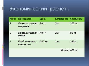 Экономический расчет. №п\п Материалы Цена Количество Стоимость 1 Лента атласн
