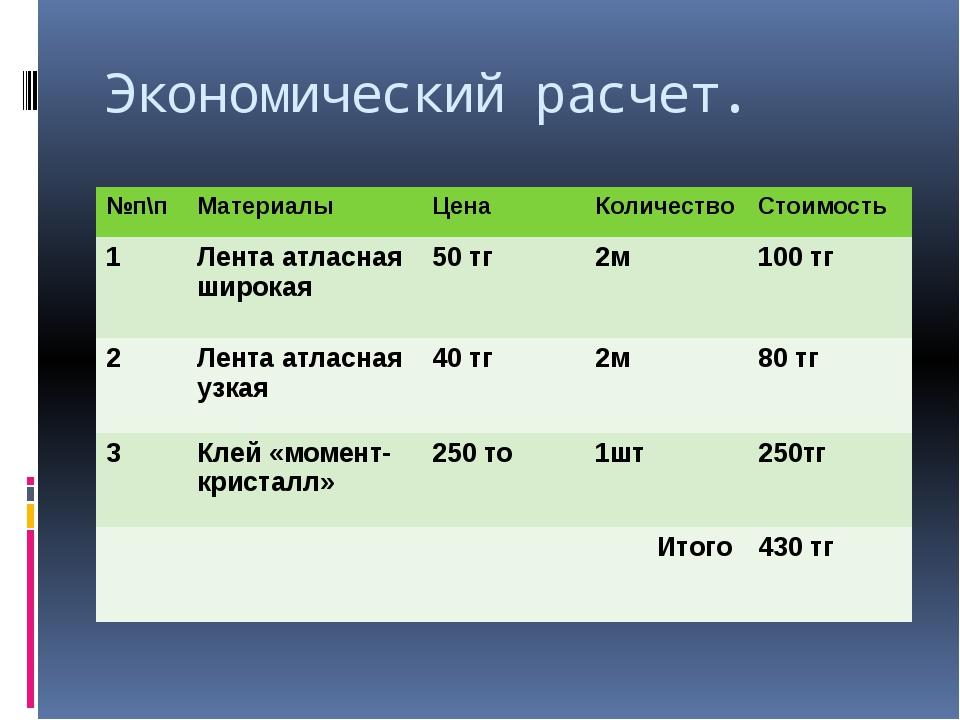Экономический расчет. №п\п Материалы Цена Количество Стоимость 1 Лента атласн...