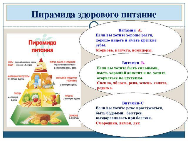 Пирамида здорового питание Витамин А. Если вы хотите хорошо расти, хорошо вид...