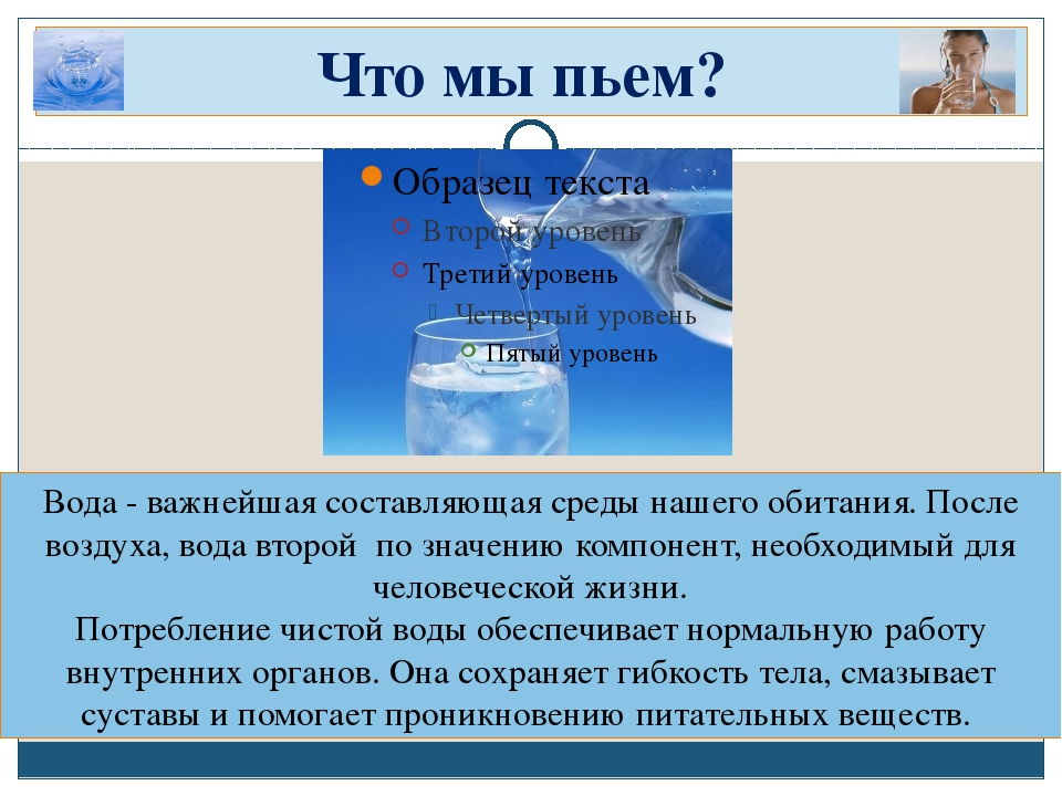 Что мы пьем? Вода - важнейшая составляющая среды нашего обитания. После возду...
