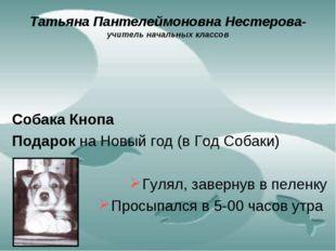 Татьяна Пантелеймоновна Нестерова- учитель начальных классов Собака Кнопа Под