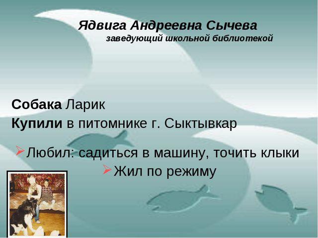Ядвига Андреевна Сычева  заведующий школьной библиотекой Собака Ларик Купили...