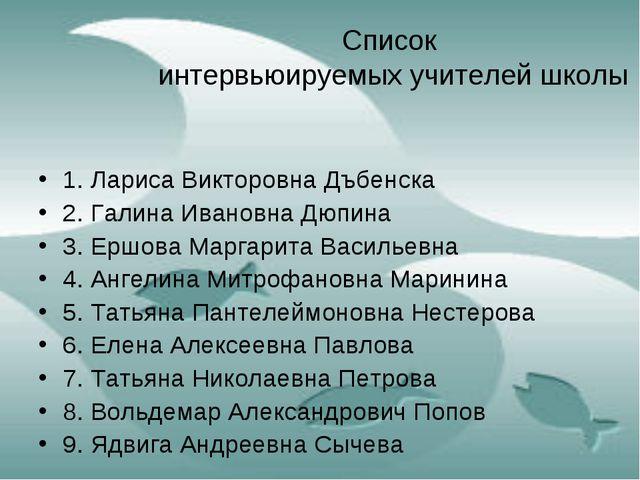 Список интервьюируемых учителей школы 1. Лариса Викторовна Дъбенска 2. Галина...