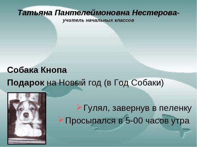 Татьяна Пантелеймоновна Нестерова- учитель начальных классов Собака Кнопа Под...