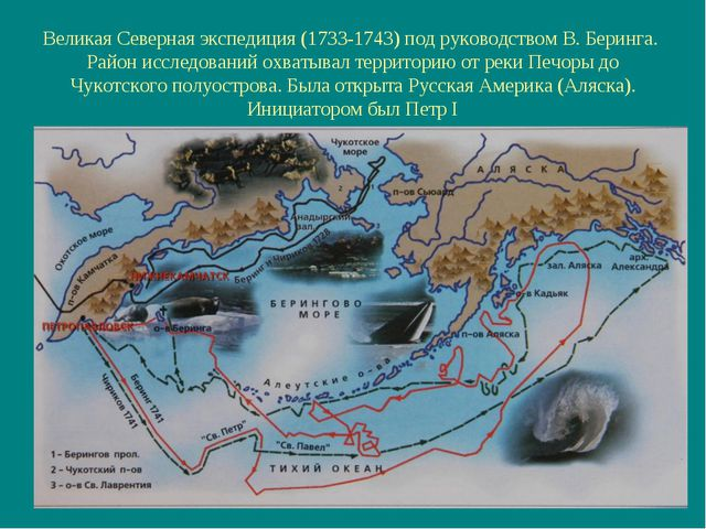 Великая Северная экспедиция (1733-1743) под руководством В. Беринга. Район ис...